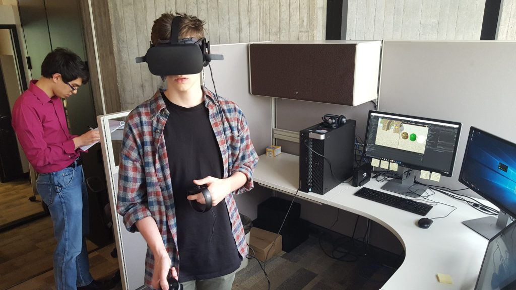 User testing the prototype of the German Environmentalism VR Project.