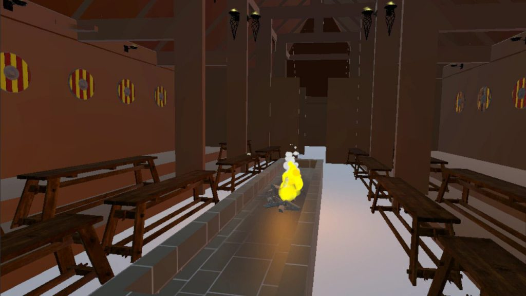 Screen capture of the virtual Heorot meadhall in Unity.