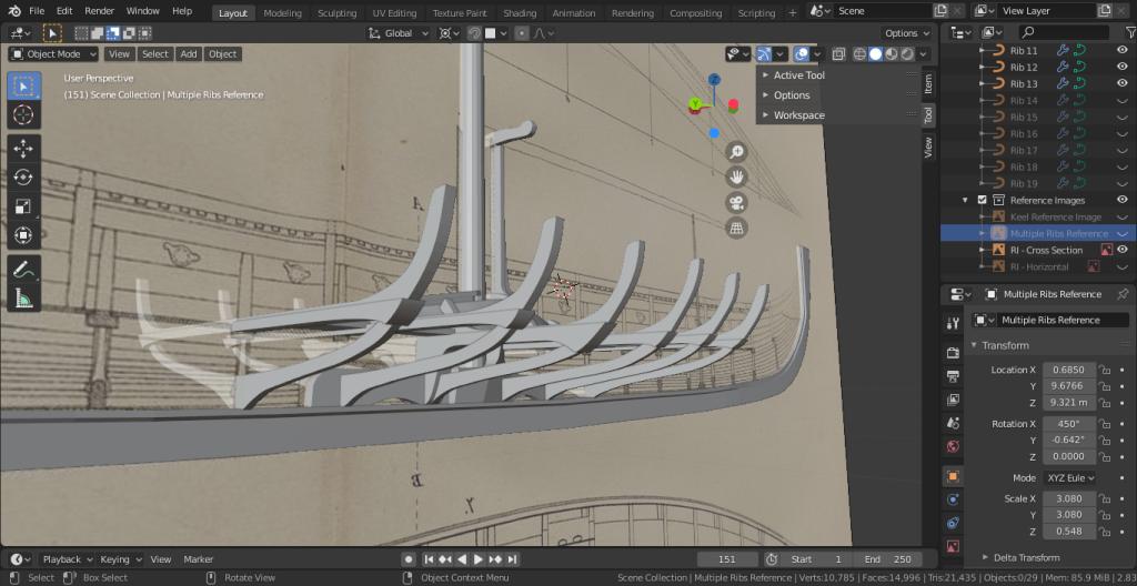 Asset development in Blender for the Gokstad Viking Longship VR Project.